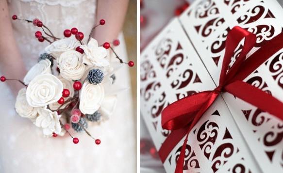 Красно-белый стиль зимний свадьбы в kingsgroup.ru